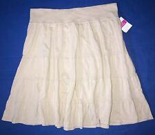 FRESH PRODUCE Extra Large Washed Khaki BEIGE $49 Tiered Jersey Skirt NWT New XL