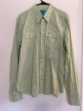 Hollister Mens Shirt Yellow Green Plaid Pearl Snaps Summer Size Large