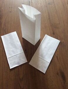 White Kraft Paper Block Bottom Sweet Bags Small and Large
