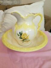 Arnels Vintage Wash Bowl And Basin Ivory White & Yellow Roses / Trim