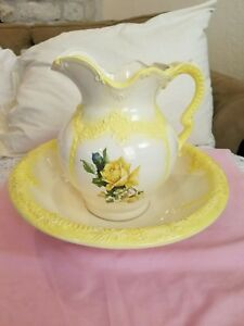 Arnels Vintage Wash Bowl And Basin Ivory White & Yellow Roses / Trim