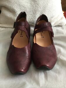 BNWT THINK BURGUNDY LEATHER HEELS STRAPPY VINTAGE SHOES sz 7 EUR 40