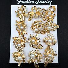 12pc/lot Mini Mixed Gold Rhinestone Crystal Pearl Brooch Pin DIY Wedding Bouquet