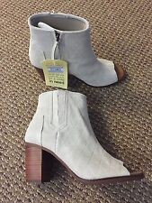 TOMS Majorca High Rise Peep Toe Quilted Grey Suede Boot 8.5