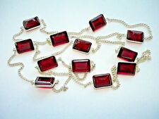 """Gem Station Silver Necklace 28-36+"""" Ab One-of-a-Kind Red Mozambique Garnet 12"""