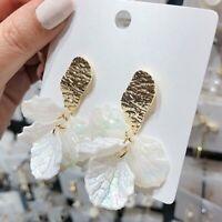 Fashion Women Jewelry Flower Shell Stud Earrings Dangle Drop Wedding Party Gift