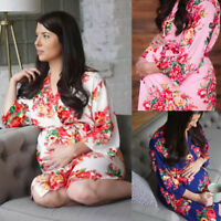 Women Nursing Pregnancy Floral Robes Nightgown Sleepwear Dress Maternity Clothes