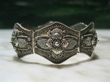 SPECTACULAR ANTIQUE BALI GRANULATED STERLING SILVER TRIBAL PANEL BRACELET