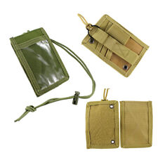 Tactical ID Card Holder Credit Card Hook & Loop Pouch with Neck Lanyard Key Ring