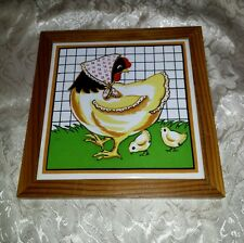 Vtg/Retro Wood and Tile Hanging Home Decor: Hen and Chicks (Farm, Chickens)