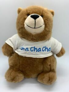 "Build A Bear Charmin Logo Plush Light Brown Bear White Cha Cha Cha Shirt 9"""