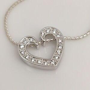 "925 Sterling Silver CZ Heart 18"" Slider Necklace"
