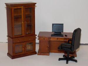 Dollhouse Miniature Office Executive Desk Set Walnut 1:12 one inch scale G1