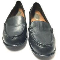 Hush Puppies Blondelle Womens Loafer Black Leather Moc Toe Slip On Size 11 M Us