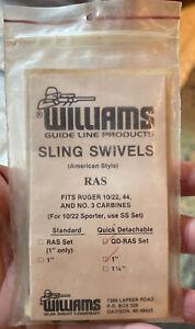 "Williams Sling Swivels RAS Fits Ruger 0/22 44 & No. 3 Carbines QD-RAS Set 1"""