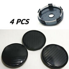 4Pcs Carbon Fiber Look Car Wheel Hub Center Caps Cover Black ABS Plastic 60mm