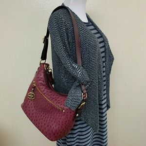Giani Bernini Embossed Faux Ostrich Leather Hobo Wine Double Compartment $129