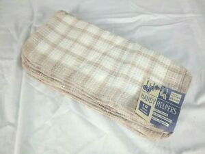 NOS Pk of 10 Vtg Handy Helpers Waffle Weave Kitchen Dish Cloths Tan White Revere