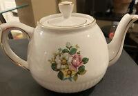 ELLGREAVE Roses Floral Gold Trim Teapot Genuine Ironstone WOODS & SONS England