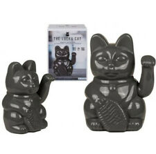 MANEKI-NEKO JAPANESE NOVELTY GREY LUCKY WAVING CAT LARGE ORNAMENT NEW & BOXED