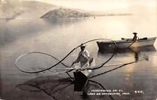 RPPC PESCADORES EN EL LAGO PATZCUARO MICH FISHING MEXICO REAL PHOTO POSTCARD