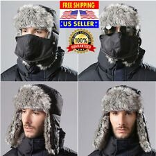 Trapper Warm Russian Trooper Fur Earflap Winter Ski Hat Mens Women Cap Black New