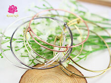 20pcs New Expandable Wire Bangle Bracelet Crescent Adjustable Pendant Charm DIY