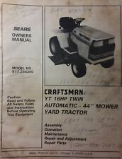 Sears Craftsman YT 16 Yard Lawn Tractor & Mower Owner & Parts Manual 917.254350