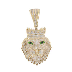 9ct Gold CZ Iced Out Gem Set Lion's Head Pendant RRP £950 (TP46_A)