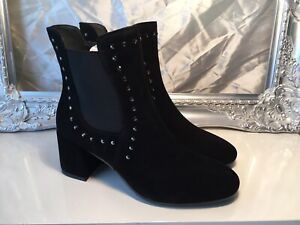 Easy N Rose Black Suede Studded Chelsea Ankle Boot Size 39 Uk 6 RRP £179