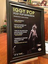 "Big 10x13 Framed Original Iggy Pop ""Post Pop Depress 00006000 Ion"" Lp Album Cd Promo Ad"