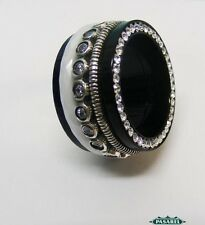 New Sterling Silver CZ Ceramic & Black Acrylic Swiveling Band Ring