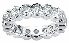 4.01 ct Round Diamond Ring 14k White Gold Eternity Band Half Bezel set F VS/SI1