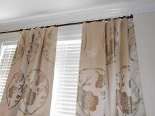 Silk Drapes large medallions floral design light silvery beige custom new PAIR