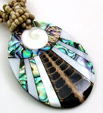 ABALONE, CONE SHELLS, MOP & SHIVA EYE necklace: DA290
