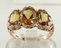 BIG 9K 9CT ROSE GOLD GOLDEN CITRINE ART DECO INS 3 STONE TRILOGY RING FREE SIZE