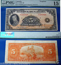 Canada ,  Bank of Canada - FRENCH BANKNOTE    - 5 Dollars  1935   PMG15
