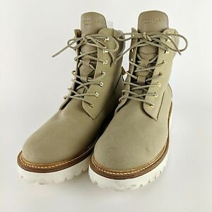 BUSCEMI Tan Italian Leather & Canvas Tall Thick Work Boot Size 45