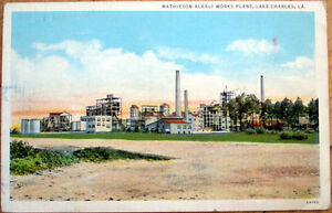 1940 Lake Charles, Louisiana Postcard: Mathieson Alkali Works Plant - LA