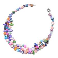 """3 Layered Beads Shell Strand Chain Necklace Fresh Water Pearls Jewelry Gift 20"""""""