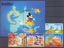 Walt Disney, Eurodisney - Antigua u.Barbuda -4 Werte, 1 Bl. ** MNH Teilsatz 1993