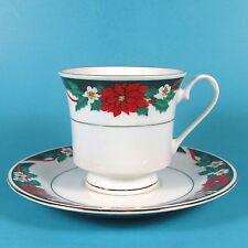 Tienshan DECK THE HALLS Cup & Saucer Set (s) Poinsettias Christmas