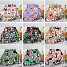 Floral Pet Dog Design Soft Warm Throw Blanket Lightweight for Sofa Couch Bedding
