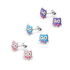 925 Sterling Silver Owl Stud Earrings Purple Pink Blue Kids Girls Gift Set