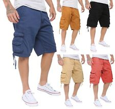 Men's Cotton Long 3/4 Twill Cargo Shorts Combat Knee Bottoms Multi Pocket Pants