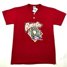 Sacramento River Cats Youth Boys L Red T Tee Shirt Crew Neck 2 Button Henley NWT