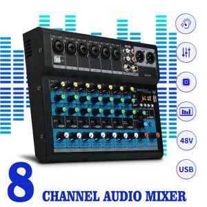 8 Kanal USB Mixer Live Studio Audio Mischpult Konsole 48V Phantomspeisung