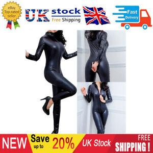 Sexy Women Lingerie Faux Leather Bodysuit Catsuit Jumpsuit Crotchless Club Wear