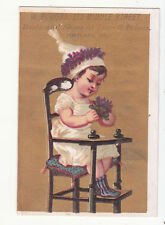 W P Goss Boots & Shoes Portland Main Child in High Chair Vict Card c1880s