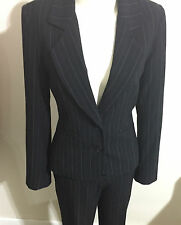 Events Business Pinstripe Black Suit Classic Jacket Skirt Straight Pant 3 Piece